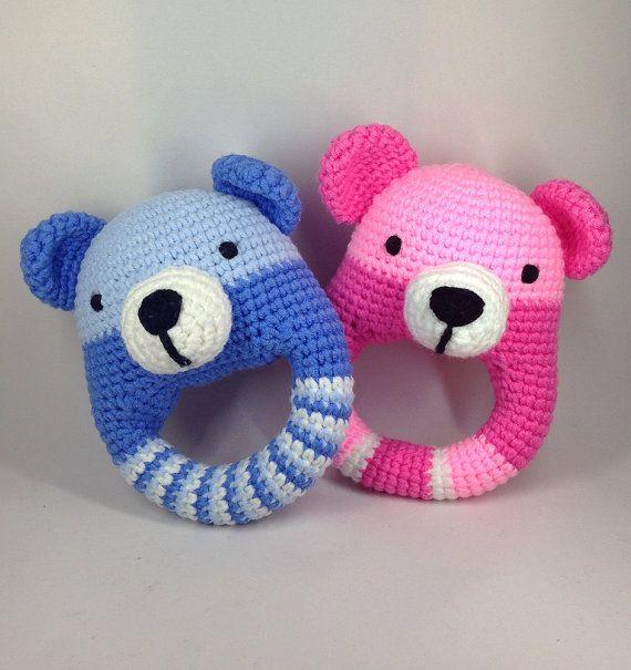 Teddy Bear Baby Rattle PDF Crochet Pattern by JossaHandmadeStore
