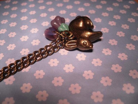 Bunny rabbit in the lavender necklace by Jaysmonkey on Etsy, £7.50