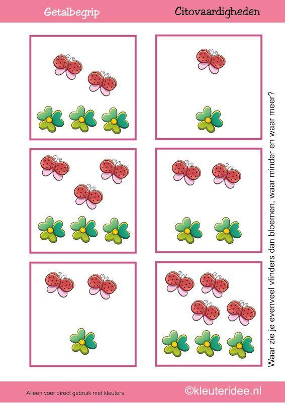 Citovaardigheden voor kleuters, kleuteridee.nl ,meten en getalbegrip, Waar zie je evenveel, waar meer en waar minder vlinders dan bloemen 1 ...