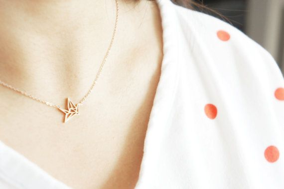 origami crane necklace  rose gold titanium by RabbitsFantasyWorld, €14.95