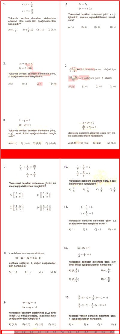TesteDeva Evinizdeki Sanal Dershaneler - (T) Doğrusal Denklem Sistemleri Test 8.Sınıf