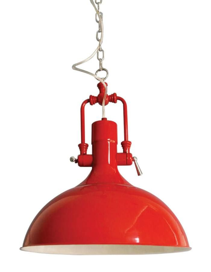 The Cottage Red Pendant Light is a country and rustic inspired pendant light that is fire engine red with a white interior.