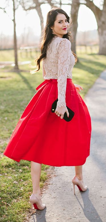 Try teaming a nude lace long sleeve t-shirt with a red pleated midi skirt and you'll look like a total babe. Complement this look with nude leather pumps. Shop this look for $82: http://lookastic.com/women/looks/beige-long-sleeve-t-shirt-red-midi-skirt-black-clutch-beige-pumps/7703 — Beige Lace Long Sleeve T-shirt — Red Pleated Midi Skirt — Black Suede Clutch — Beige Leather Pumps