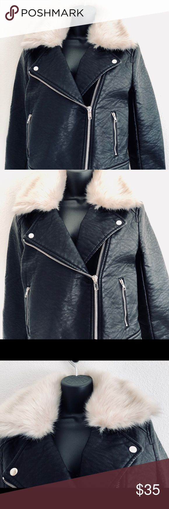 NWT Faux Leather Jacket With Faux Fur collar Super cute black faux leather jacket with faux fur Silver zip and button  Long sleeve  Satin lining  Two pockets in front Forever 21 Jackets & Coats