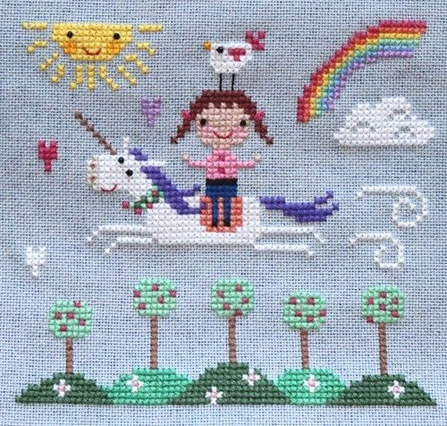 spring unicorn cross stitch.