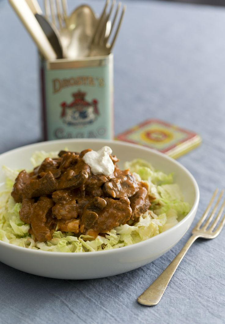 Beef stroganoff with cabbage noodles