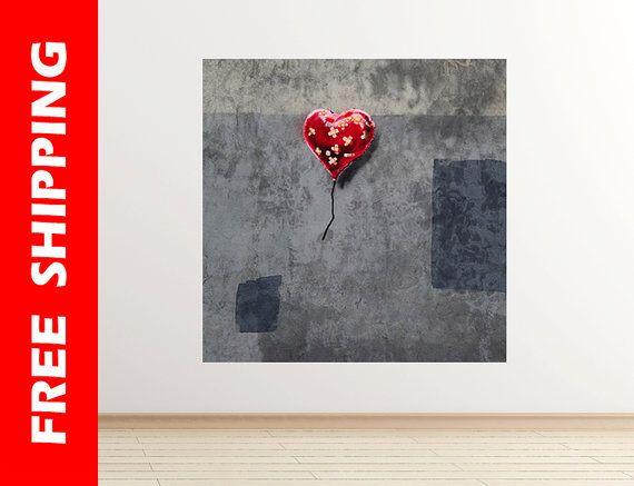 NYC Love ballon red heart Banksy wall decal graffiti art wall
