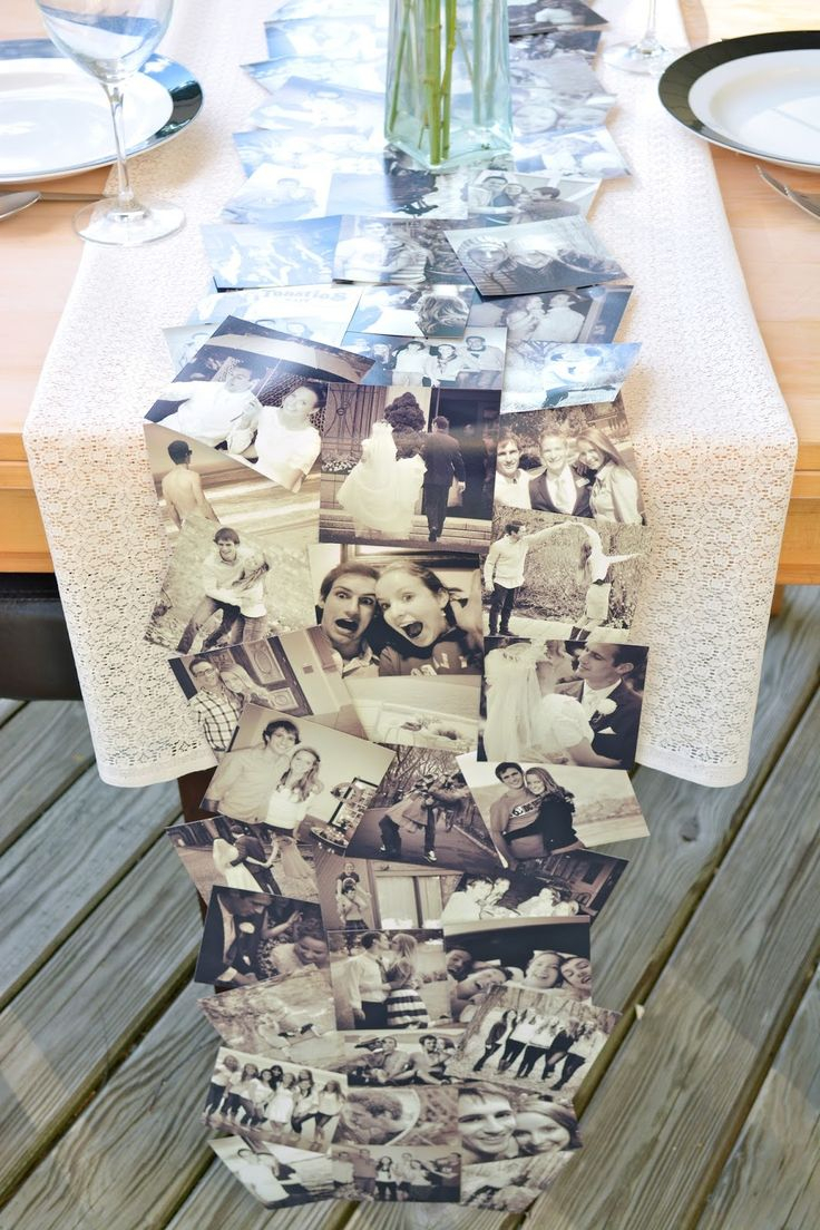 DIY Photo table runner (using printed instagram pics)cute for engagement party or rehearsal dinner!