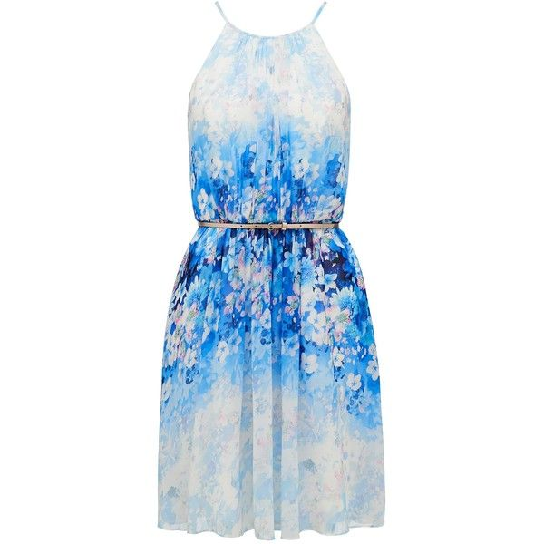 Forever New Alexis Georgette Prom Dress (400 RON) ❤ liked on Polyvore featuring dresses, vestidos, floral print, keyhole prom dress, blue prom dresses, floral prom dresses, metallic prom dress and blue dress