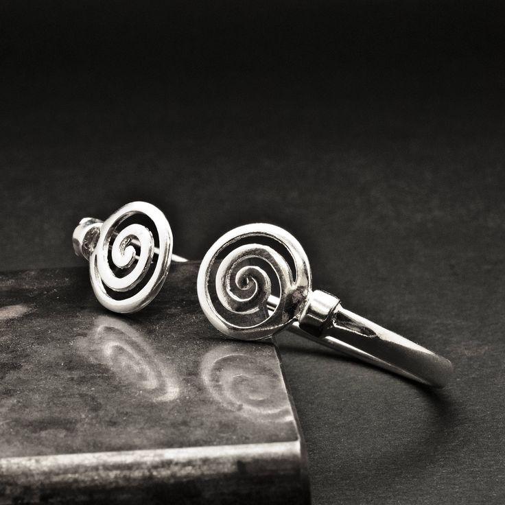 Unisex Sterling Silver Spiral Cuff Bracelet, Greek Jewelry