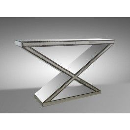 X Base Mirrored Nail Head Console Table