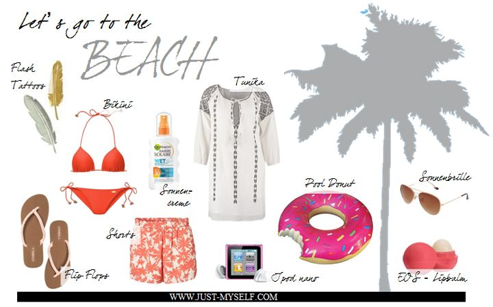 Beach essentials | palme | palm tree | tunika | bikini orange | flash tattoos | flip flops | collage | donut schwimmring | shorts with palms | shorts mit palmen