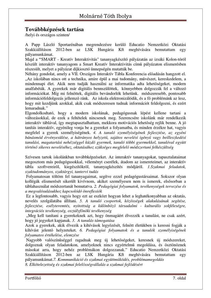 Molnárné Tóth Ibolya Szakmai önéletrajz   PDF to Flipbook