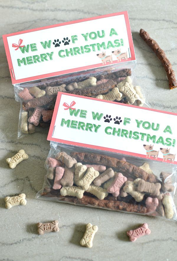 Looking for ideas for Christmas gifts for dogs? This easy dog Christmas gift idea includes a free printable bag topper for dog treats to spoil your pup.