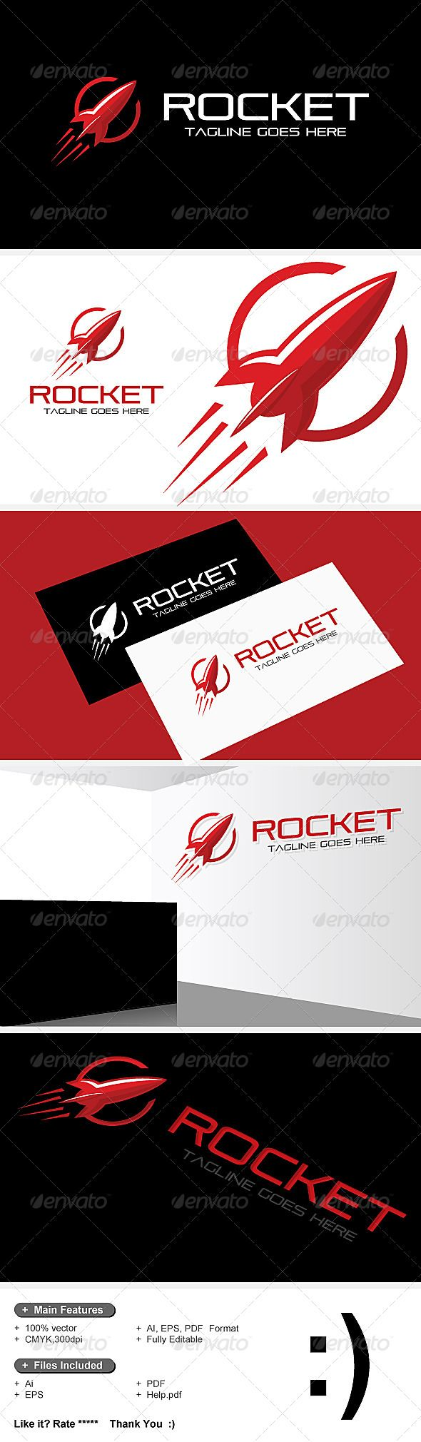 Rocket Logo — Vector EPS #rocket #red • Available here → https://graphicriver.net/item/rocket-logo/7529049?ref=pxcr
