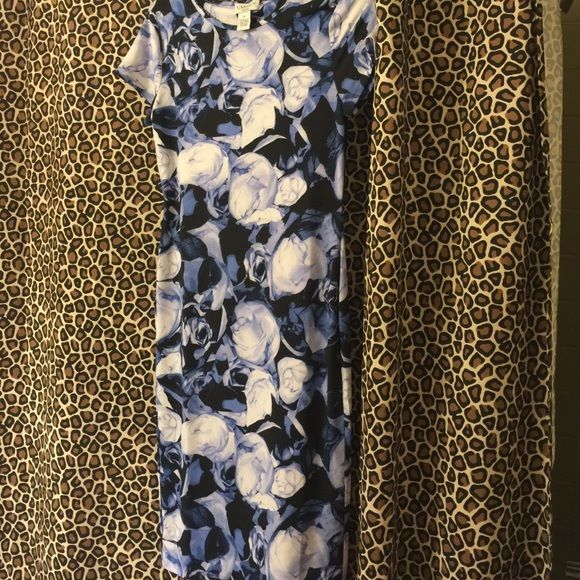 Beautiful blues and white long dress. This dress is very figure fitting, blues with roses all over it. It's just a gorgeous dress. Carmen Marc Valvo Dresses Maxi