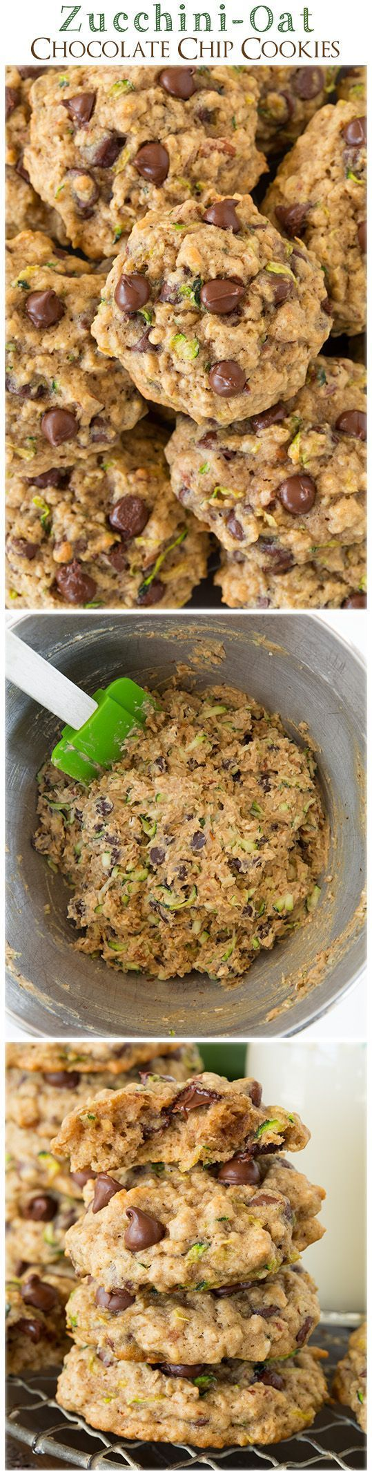 Zucchini Oat Chocolate Chip Cookies - these are the best use for that summer zucchini! SO good!! #recipe