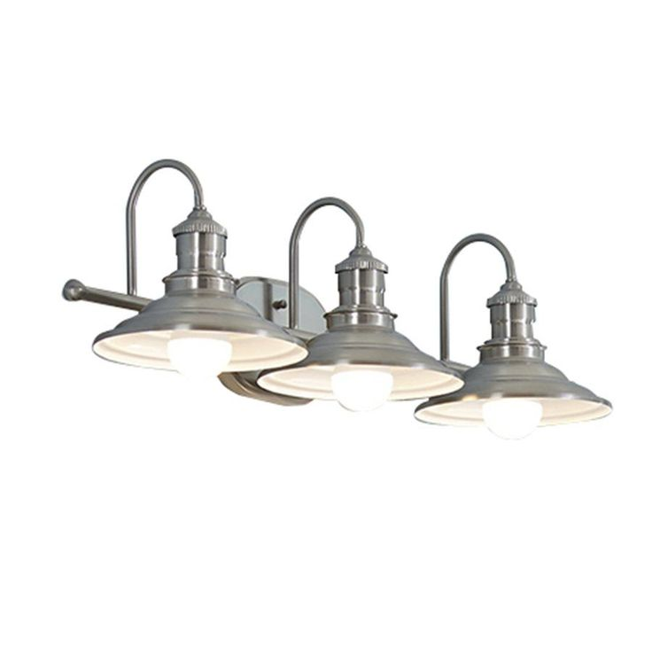 allen + roth 3-Light Hainsbrook Bathroom Vanity Light Traditional design will complement many styles Matching metal shades direct light down onto vanity