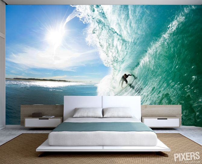 Fresh Summer Decorating Trend: Surf-Themed Wall Murals in Bedrooms | pixersize.com / blog