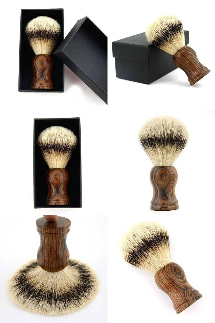 [Visit to Buy] ZY Tiger Skin Sandalwood Silvertip Badger Hair Shave Shaving Beard Brush Men Shave Beard + Black Classic Best Gift Box Present #Advertisement