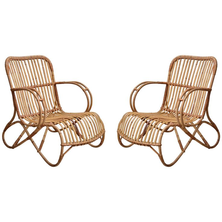 Pair Of Small Scale Bamboo Armchairs