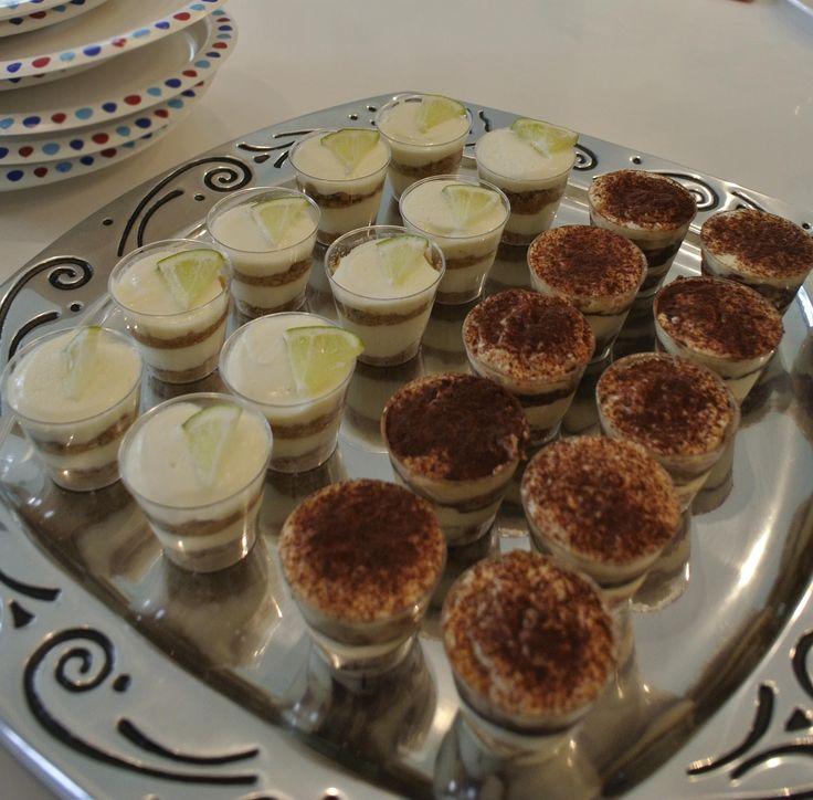 Tiramisu & Key lime pie in shot glass