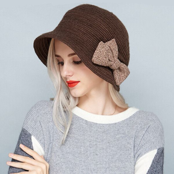 Sweet bow knit bucket hat for women winter wear