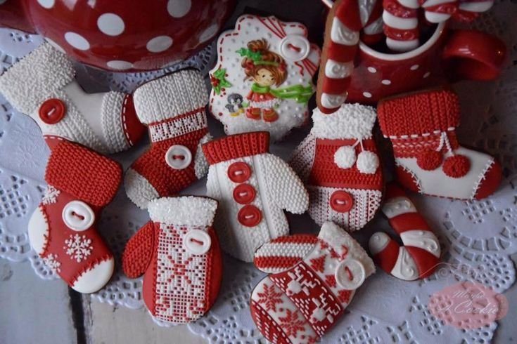 Keep warm with red & white knitted mittens & socks by Maybe A Cookie