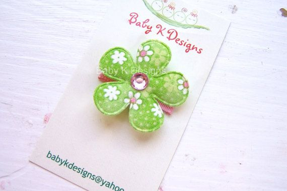 The Clip that really stays in!! Pink n Green Flower Baby Clip - great for St. Patrick's Day by Baby K Designs, $2.95Baby Bows, Baby Baby, Baby Snap, Flower Baby, Baby Clips