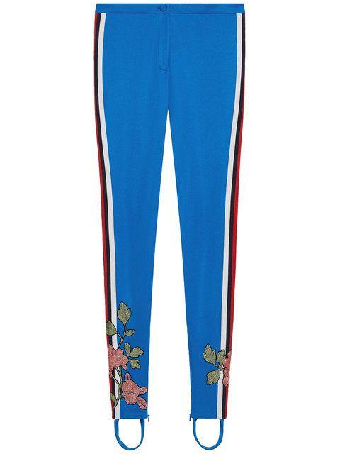 GUCCI Embroidered Jersey Stirrup Legging. #gucci #cloth #legging