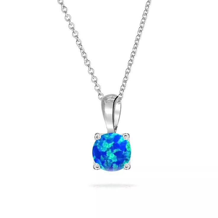 collar de plata con dije solitario de ópalo azul - bling je