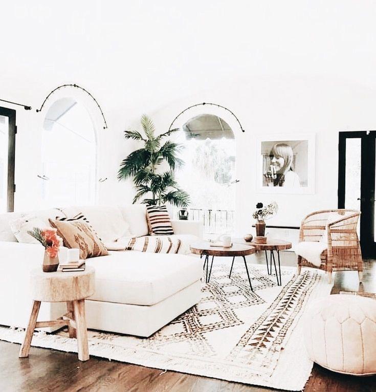 Modern Minimalist Boho Chic Style Living Room Bohemian Home Decor