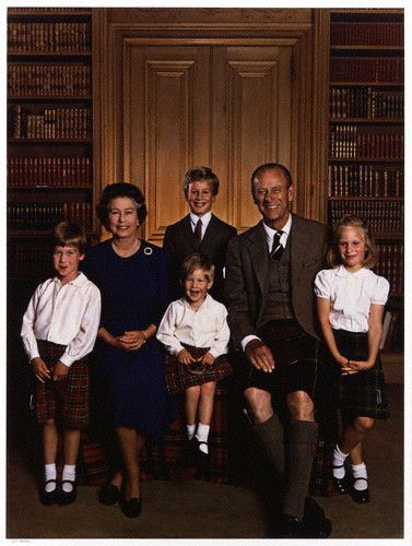Queen Elizabeth II and The Duke of Edinburgh with their grandchildren Peter, Zara, William, and Harry.