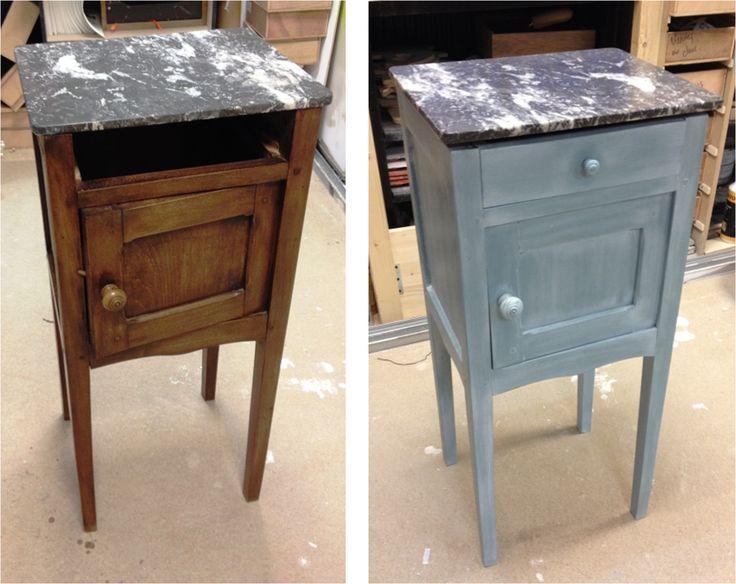 apr s nettoyage application peinture gamme charme coloris bleu gustavien finition cire blanche. Black Bedroom Furniture Sets. Home Design Ideas