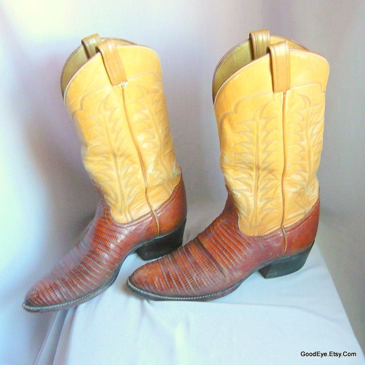 Vintage TONY LAMA Western Boots / Men Size 9 .5 d Eu 43 Uk 9 / LIZARD n Leather Flame Stitched / Womens Cowboy boot sz 10 .5 W by GoodEye on Etsy