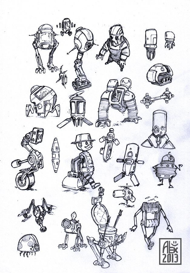 Croquis De Robots En Vrac Sketches Of Various Robots My