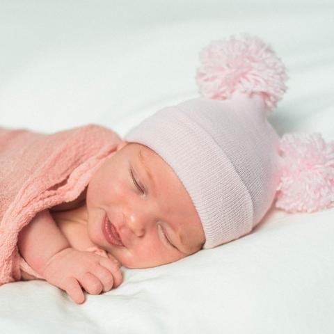 Double Pink Pom Poms Newborn Girl Hospital & Nursery Hat #Melondipity