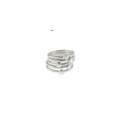 stacked pearl ring set