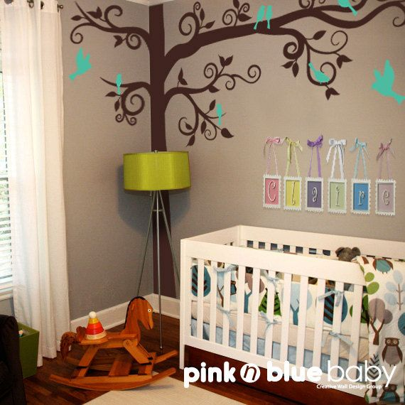 Baby Nursery Kids Wall decor : Big Giant Swirly Tree with birds - Nursery Baby Kids Wall Decal. $129.00, via Etsy.