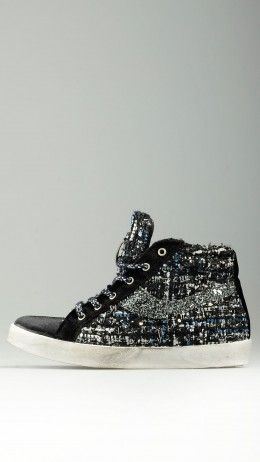 Glittered insert high top sneakers