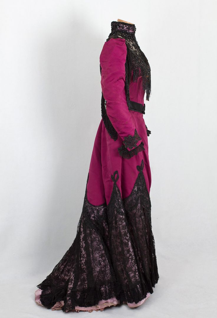 House of Worth, beaded silk faille dress, c.1890. Side view. From VintageTextile.
