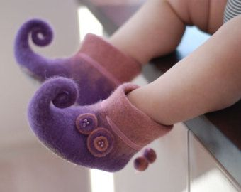 For Little Fairy- handfelted  slippers/ home shoes, baby booties HANDMADE TO ORDER