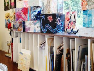 Organized Chaos - An Artist's Studio: The Art Barn..Inside the Art Barn, Kitty stores her files, pads of paper, canvases vertically and open.