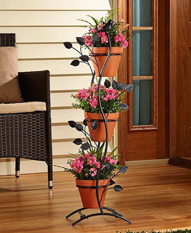 3 Pot Metal Plant Stand Vertical Branches Leaves Bird