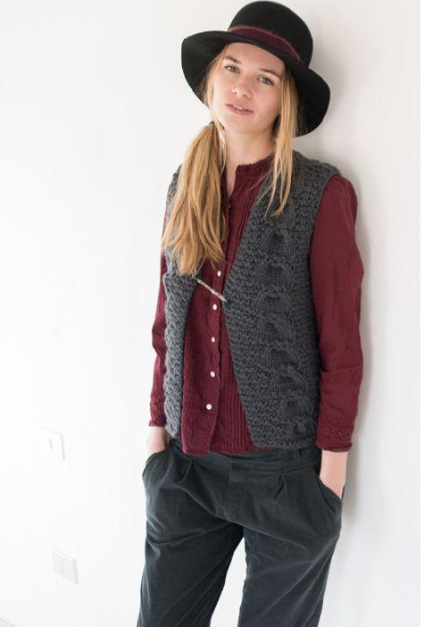 Trifoglio hat, black. Wexford vest, grey. Sonia shirt, prune. Liberty pants, iron.