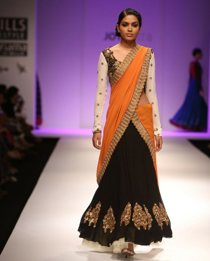 Black and orange georgette lengha set - Joy Mitra - Autumn Winter Collection - Off the runway Get it here: http://rutbaa.com/off-the-runway/joy-mitra/black-and-orange-georgette-lengha-set-250.html