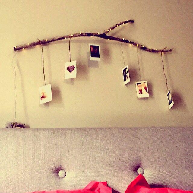 Driftwood Polaroid photo holder with lights