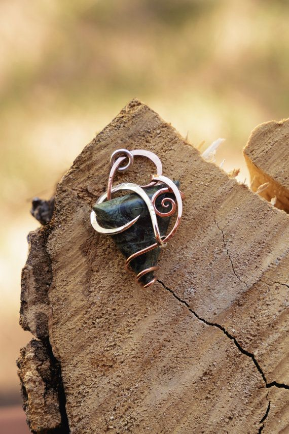 Unique triple wrap  jasper wrapped in copper and by AlchemyofWire