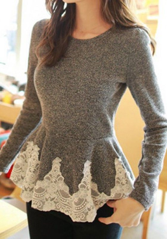 Grey Patchwork Lace Corset Round Collar Long Sleeve Slim Sweet Fashion Pullover Sweater