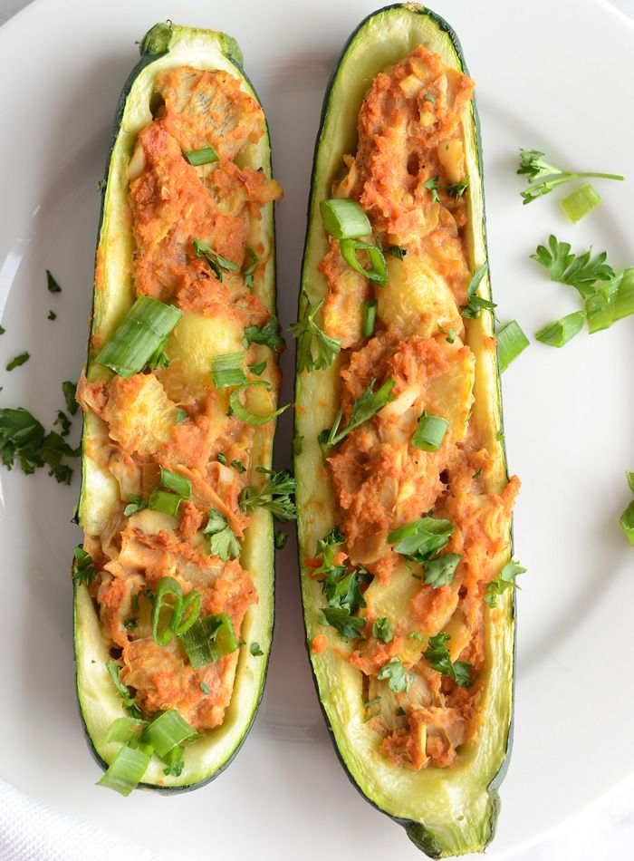 This healthy, vegan twice baked stuffed zucchini is easy to make in about 30 minutes. Looks beautiful, tastes amazing and is low in fat and calories. Vegan Twice Baked Stuffed Zucchini http://runningonrealfood.com/twice-baked-stuffed-zucchini/
